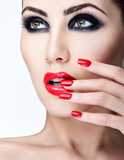 Professional Makeup.   Beautiful Fashion Model Girl Face. Perfec