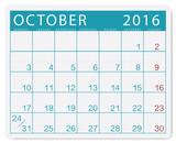 Calendario 2016: mese di ottobre con festivi