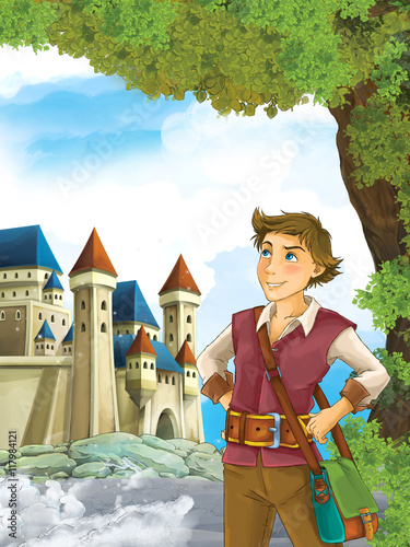 Foto op Aluminium Kasteel Cartoon scene with a young brave man - traveler - stage for different fairy tales - beautiful castle - illustration for children