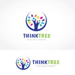 Detaily fotografie Think Tree Logo, People tree logo template.
