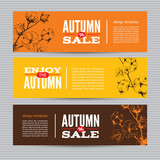 Autumn banners set with stems of cotton plants.