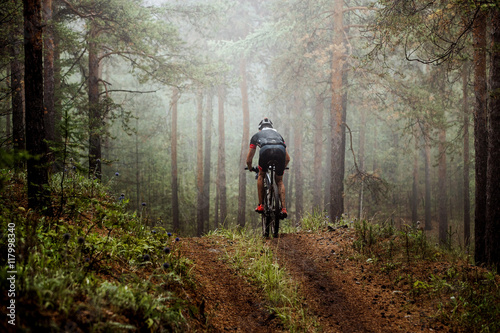 male athlete mountainbiker rides a bicycle along a forest trail. in forest mist, mysterious view - 117998340