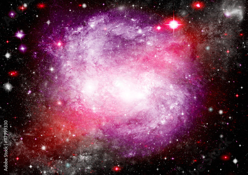 Stars of a planet and galaxy in a free space. Elements of this image furnished by NASA . © marusja2