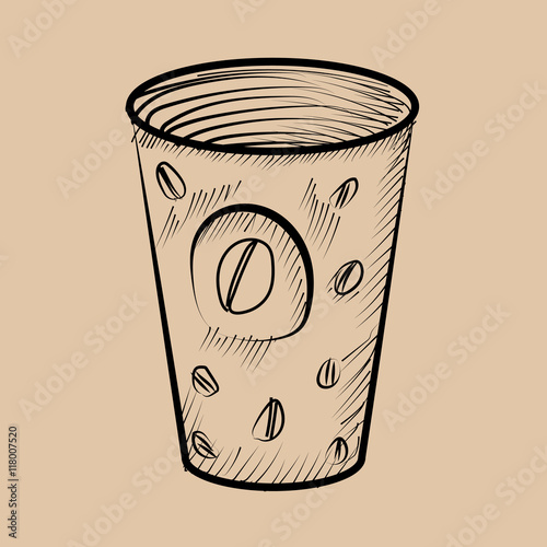 Hot coffee cup with coffe label Hand drawn illustrations