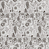 Vector forest design, floral seamless pattern