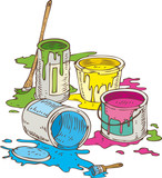 Tin Cans of Different Paint and Paintbrush