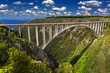 South Africa. Western Cape Province, Tsitsikamma region of the Garden Route. The Bloukrans Bridge seen from the north (world's highest bungy bridge, 216 m heigh above the Bloukrans River)