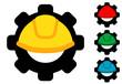 Icono plano casco con engranaje en varios colores