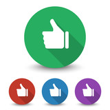 White Thumb Up icon in different colors set
