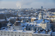 Vilnius winter panorama from Gediminas castle tower. View of Palace of Great Dukes . Vilnius. Lithuania
