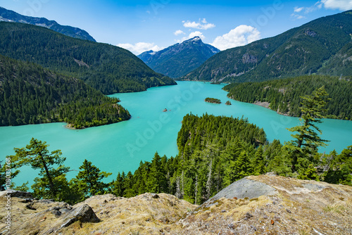 Lake Diablo Man Made Aqua Green Colored Lake in the North Cascades off Highway 2 Poster