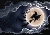 Wicked witch flying by the moon background.