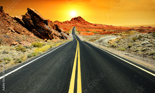 Fotobehang Route 66 Road at sunset