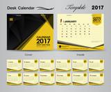 set yellow Desk Calendar 2017 template design, cover Desk Calend