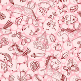 Vector doodle seamless pattern with magic unicorns, flowers, medieval castle, butterfliesand birds