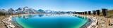 Panorama von Walliser Alpen und Speichersee, Schweiz