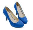 pair of blue high heels