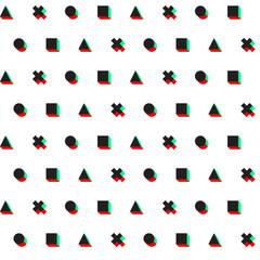 triangle cross circle square stereo 3d digital web pattern