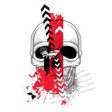 Vector illustration with dotted skull, abstract arrows, butterflies and blots in red and black isolated on white. Sketch for tattoo in trendy Trash Polka and dotwork style. Creative design for tattoo.