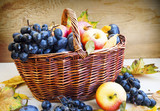 Organic autumn fruits in basket with dried leaves
