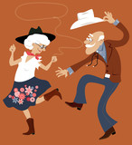 Senior couple dressed in traditional western costumes dancing square dance or contradance, EPS 8 vector illustration, no transparencies