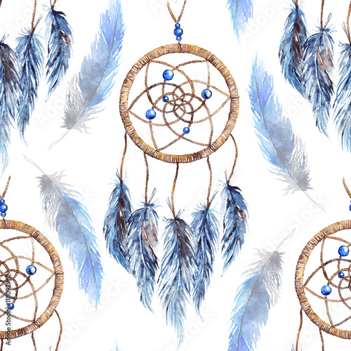 Cotton fabric Watercolor ethnic tribal hand made feather dream catcher seamless pattern