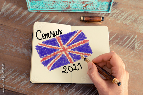 Poster Census 2021 United Kingdom written on notebook page