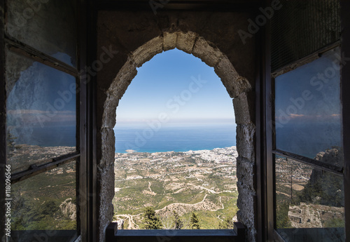 In de dag Cyprus View from the window of Saint Hilarion Castle in Kyrenia, Northern Cyprus