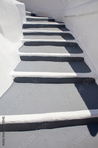 Famous white and grey stairs of Santorini