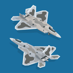 Military airplane at flying. Flat 3d isometric high quality military vehicles machinery transport.