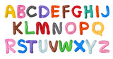 Fototapety Handmade plasticine alphabet isolated on white background. English colorful letters of modelling clay.