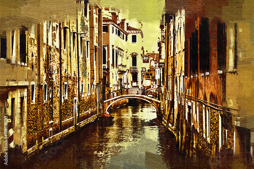 Obraz na Szkle Venice art illustration - oil painting