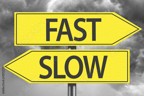 Poster Fast x Slow yellow sign