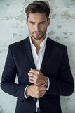 Portrait of sexy man in black suit - 118123707