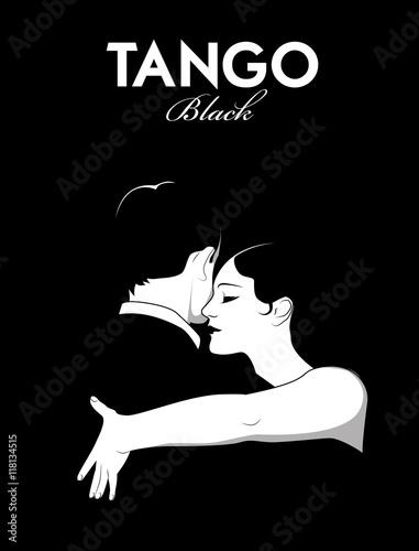 Fotobehang Vintage Poster Young couple dancing tango. Comic style.