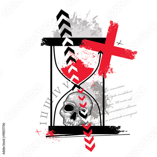 Keuken foto achterwand Vlinders in Grunge Vector illustration with dotted skull, cross, abstract arrows, hourglass and blots in red and black isolated. Sketch for tattoo in Trash Polka and dotwork style. Creative trash design for tattoo.