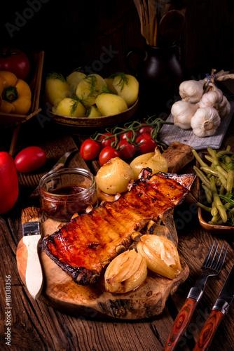 Fototapeta Crisp grilled ribs