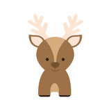 reindeer deer cartoon merry christmas celebration icon. Isolated and flat illustration, vector
