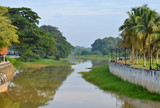 Pahang River bank in Pekan town in Malaysia
