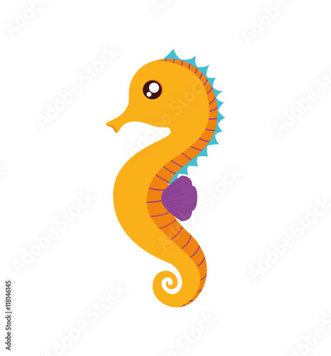 sea horse cute animal little icon. Isolated and flat illustration