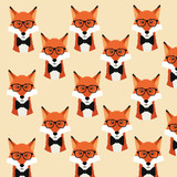 fox glasses background animal hipster style retro fashion icon, Vector illustration