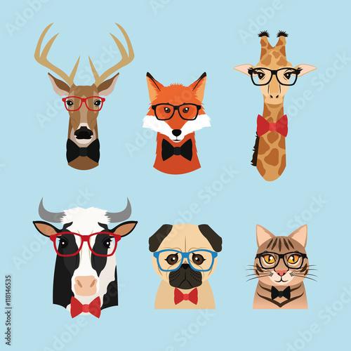Aluminium Hipster Hert cat dog cow giraffe fox reindeer deer glasses animal hipster style retro fashion icon, Vector illustration blue background
