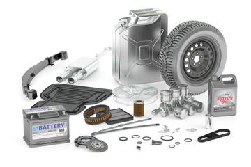 set of car parts, 3D rendering
