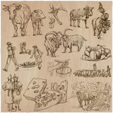 agriculture, Cheesemaking - hand drawn vector set. - 118149931
