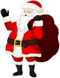 Vector illustration of a laughing, waving cartoon Santa Claus.