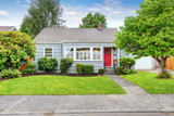 Fototapety Exterior of small American house with blue paint
