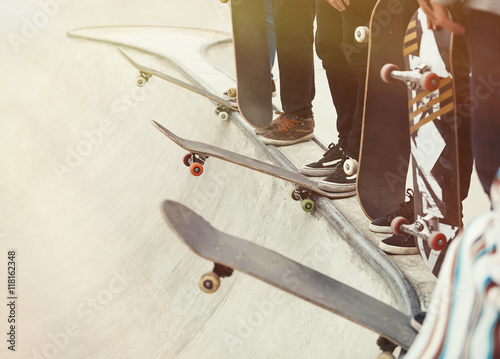 Fotobehang Skateboard Skateboarders competition in a skate park