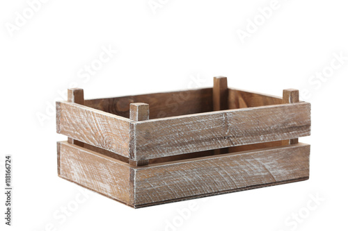 Wooden crate isolated on a white