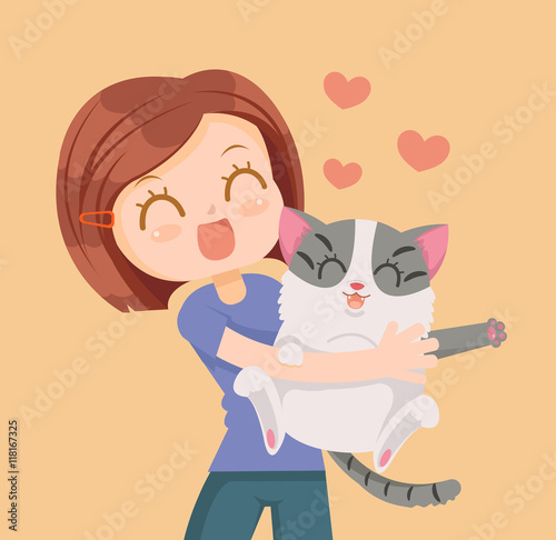 Girl and cat characters hug. Best friends. Vector flat cartoon illustration - 118167325