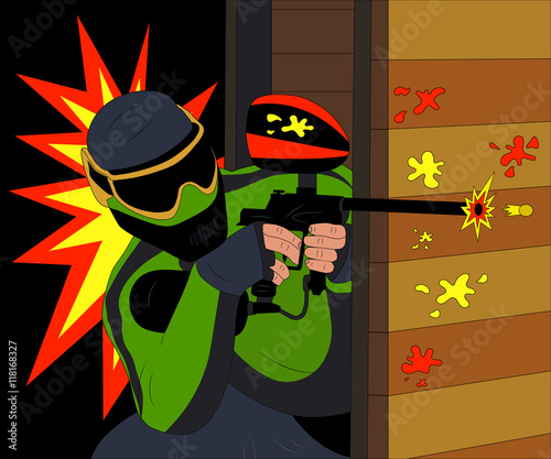 Plakat Cool paintball player shooting from his marker. Vector illustration.